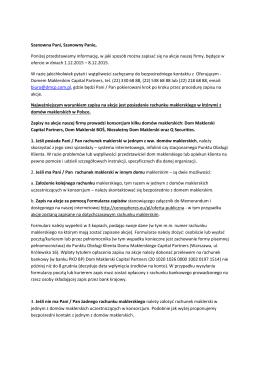 Lista domów maklerskich uczestniczących w konsorcjum, ich strony