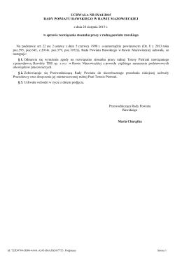 UCHWAŁA NR IX/61/2015 RADY POWIATU RAWSKIEGO W RAWIE
