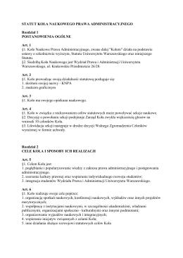 statut koła naukowego prawa administracyjnego