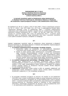 Zarządzenie nr 17/2015 - Wydział Elektrotechniki, Automatyki