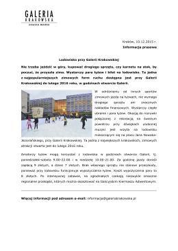 Lodowisko przy Galerii Krakowskiej 10.12.2015