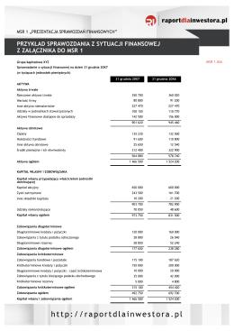 Przykład sprawozdania z sytuacji finansowej z załącznika do MSR 1