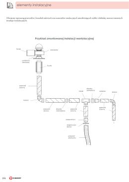 184 Przykład zmontowanej instalacji wentylacyjnej
