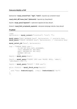 Polecenia MySQL w PHP Przykład:
