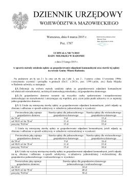 Uchwała Nr 71/2015 Rady Miejskiej w Radomiu z dnia 23.02.2015r