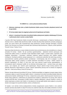 PZ CORMAY S.A. - zamiar pełnej konsolidacji Orphée