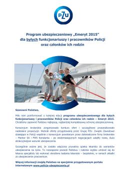 """Program ubezpieczeniowy """"Emeryt 2015"""" dla byłych funkcjonariuszy"""