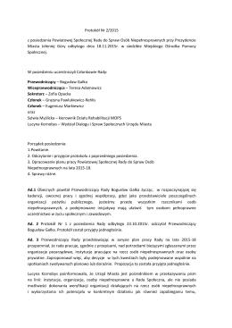 Protokół Nr 2/2015 z posiedzenia Powiatowej Społecznej Rady do