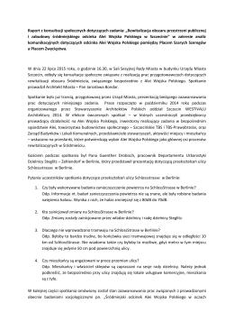Raport z konsultacji społecznych dotyczących zadania