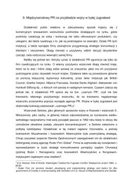 9. Międzynarodowy PR na przykładzie wojny w byłej Jugosławii