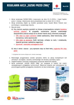 Suzuki Przed Zimą 2015 - Regulamin dla Klienta