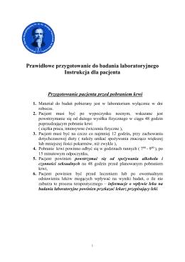 Prawidłowe przygotowanie do badania laboratoryjnego Instrukcja
