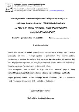 """"""" Przez lądy, morza i oceany… kraje skandynawskie i województwo"""