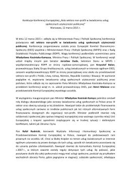 "Konkluzje Konferencji Europejskiej ""Rola sektora non"