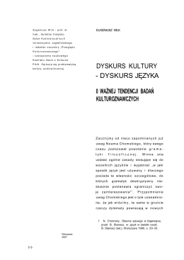 5. Eugeniusz Wilk - Dyskursu kultury