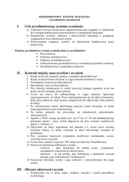 I. Cele przedmiotowego systemu oceniania: II. Kontrakt między