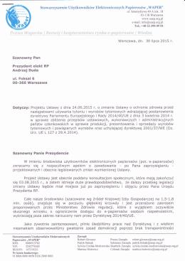 Szanowny Pan Prezydent elekt RP Andrzej Duda ul. Foksal 6 00