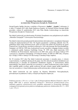 Warszawa, 31 sierpnia 2015 roku 36/2015 Powołanie Pana Jakuba