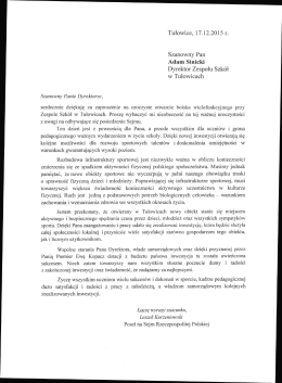 Tułowice, 17.12.2015 r. Szanowny Pan Adam Sinicki