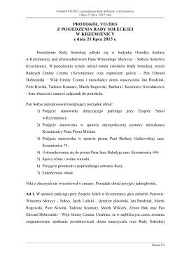 Protokół 7 z zebrania w dniu 21 lipca 2015 r.