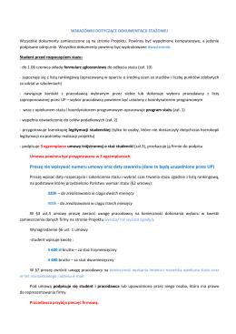 Wskazówki dotyczące dokumentacji stażowej