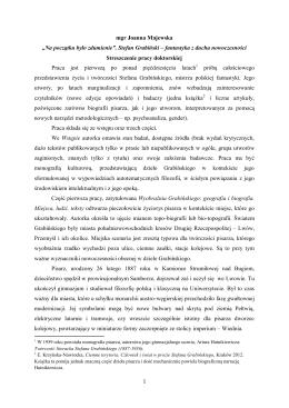 """mgr Joanna Majewska """"Na początku było zdumienie"""". Stefan"""