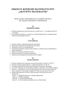 pobierz regulamin konkursu - Zespół Szkół Zawodowych nr 4 im