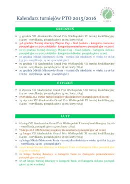 Kalendarz turniejów PTO 2015/2016