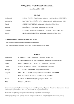 Lista podręczników klasy I
