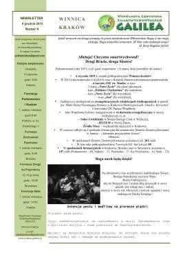 newsletter grudzień 2015 - Winnica Kraków