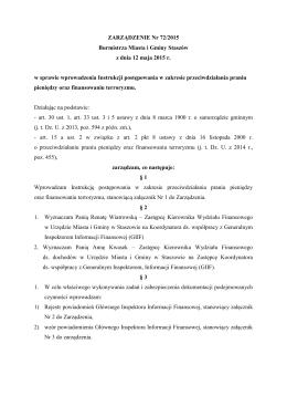 Treść zarządzenia - Urząd Miasta i Gminy w Staszowie