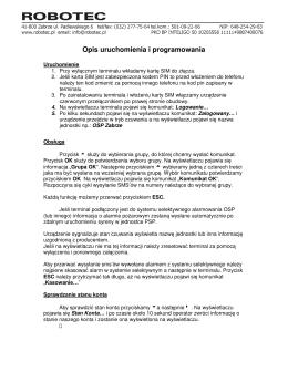Opis uruchomienia i programowania