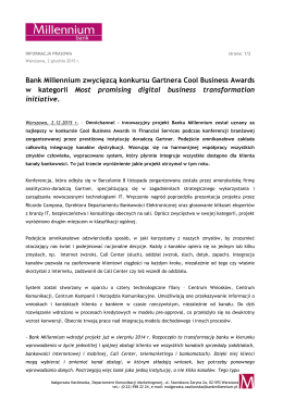 Bank Millennium zwycięzcą konkursu Gartnera Cool Business