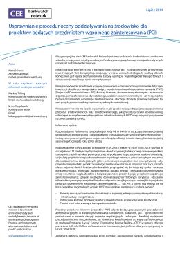 Usprawnianie procedur oceny oddziaływania na środowisko dla