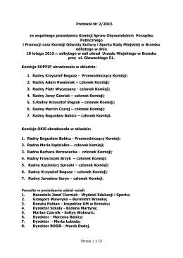 Protokół Nr 2/2015 ze wspólnego posiedzenia Komisji
