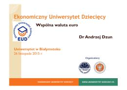 Wspólna waluta euro - Ekonomiczny Uniwersytet Dziecięcy