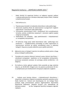 """Regulamin konkursu -""""WSPÓLNA EUROPA 2015 """""""