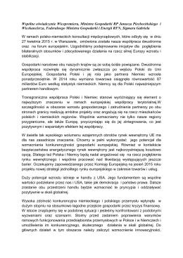 Wspólne oświadczenie Wicepremiera, Ministra Gospodarki RP