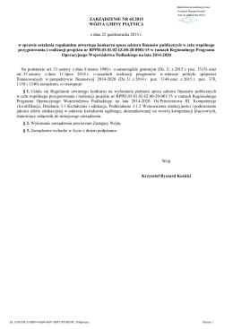 Zarządzenie Nr 65.2015 wraz z załącznikiem (format pdf)