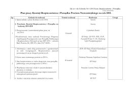 Plan pracy Komisji Bezpieczeństwa i Porządku Powiatu
