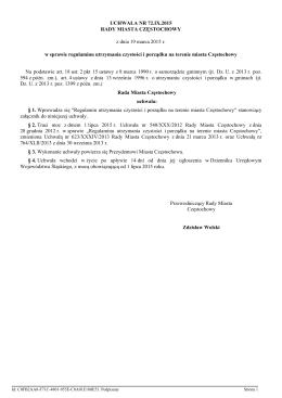 Uchwala Nr 72.IX.2015 z dnia 19 marca 2015 r.