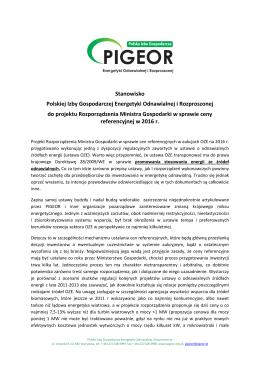 Stanowisko PIGEOR do rozporządzenia Ministra Gospodarki w