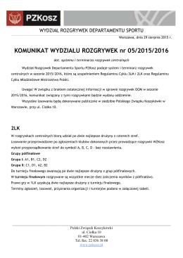 Komunikat WR 05/2015/2016 - Polski Związek Koszykówki