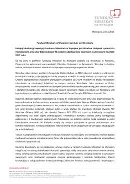 Fundusz Mieszkań na Wynajem inwestuje we Wrocławiu