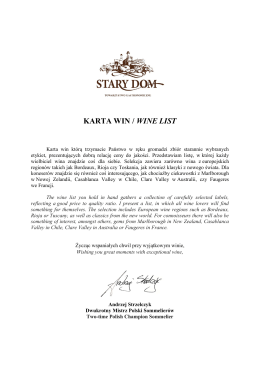 KARTA WIN / WINE LIST - Restauracja Stary Dom