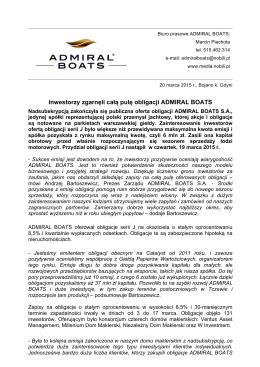 Inwestorzy zgarnęli całą pulę obligacji ADMIRAL BOATS