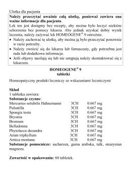Ulotka dla pacjenta Nale y przeczytać uwa nie całą