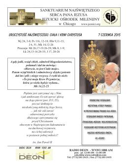Niedziela 7 czerwca 2015 - Polscy Jezuici w Chicago