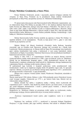 Święty Melchior Grodziecki, a Stara Wieś.