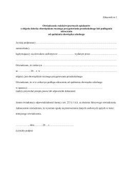 Załącznik nr 1 Oświadczenie rodziców/prawnych opiekunów o